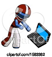 Blue Football Player Man Throwing Laptop Computer In Frustration