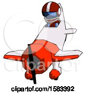 Blue Football Player Man In Geebee Stunt Plane Descending Front Angle View