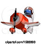 Blue Football Player Man Flying In Geebee Stunt Plane Viewed From Below