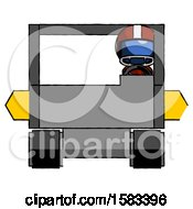 Blue Football Player Man Driving Amphibious Tracked Vehicle Front View