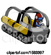 Blue Football Player Man Driving Amphibious Tracked Vehicle Top Angle View