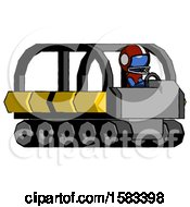 Blue Football Player Man Driving Amphibious Tracked Vehicle Side Angle View