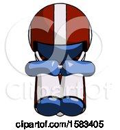 Blue Football Player Man Sitting With Head Down Facing Forward
