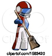 Blue Football Player Man Sweeping Area With Broom