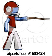 Blue Football Player Man Pointing With Hiking Stick