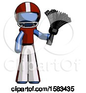 Blue Football Player Man Holding Feather Duster Facing Forward