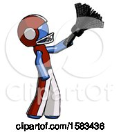 Blue Football Player Man Dusting With Feather Duster Upwards