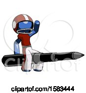 Blue Football Player Man Riding A Pen Like A Giant Rocket