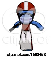 Blue Football Player Man Looking Down Through Magnifying Glass
