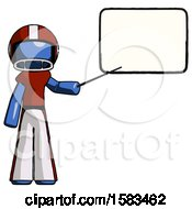 Blue Football Player Man Giving Presentation In Front Of Dry Erase Board