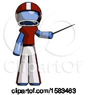 Blue Football Player Man Teacher Or Conductor With Stick Or Baton Directing