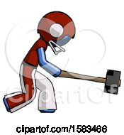 Blue Football Player Man Hitting With Sledgehammer Or Smashing Something