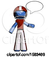 Blue Football Player Man With Word Bubble Talking Chat Icon