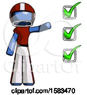 Blue Football Player Man Standing By List Of Checkmarks