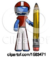 Blue Football Player Man With Large Pencil Standing Ready To Write