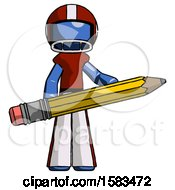 Blue Football Player Man Writer Or Blogger Holding Large Pencil
