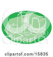 Green Still Life Of Milk Bread Fruits And Veggies Clipart Illustration