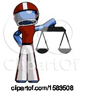 Blue Football Player Man Holding Scales Of Justice
