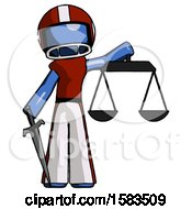 Blue Football Player Man Justice Concept With Scales And Sword Justicia Derived