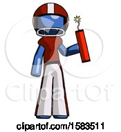 Blue Football Player Man Holding Dynamite With Fuse Lit