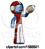 Blue Football Player Man Holding Football Up