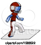 Blue Football Player Man On Postage Envelope Surfing