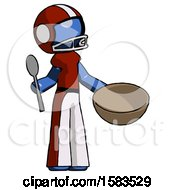 Blue Football Player Man With Empty Bowl And Spoon Ready To Make Something