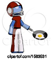 Blue Football Player Man Frying Egg In Pan Or Wok Facing Right