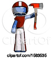 Blue Football Player Man Holding Up Red Firefighters Ax