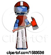 Blue Football Player Man Holding Red Fire Fighters Ax