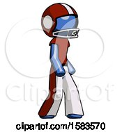 Blue Football Player Man Walking Turned Right Front View