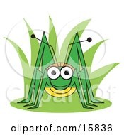 Happy Green Grasshopper In Plants Clipart Illustration