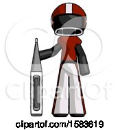 Black Football Player Man Standing With Large Thermometer