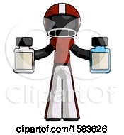 Black Football Player Man Holding Two Medicine Bottles