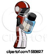 Black Football Player Man Holding Glass Medicine Bottle