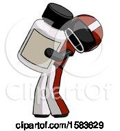 Black Football Player Man Holding Large White Medicine Bottle