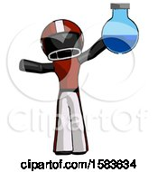 Black Football Player Man Holding Large Round Flask Or Beaker