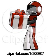 Black Football Player Man Presenting A Present With Large Red Bow On It