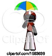 Black Football Player Man Holding Umbrella Rainbow Colored