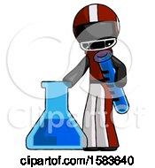 Black Football Player Man Holding Test Tube Beside Beaker Or Flask