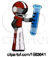 Black Football Player Man Holding Large Test Tube