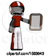 Black Football Player Man Showing Clipboard To Viewer
