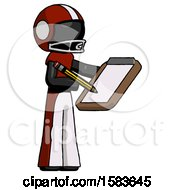 Black Football Player Man Using Clipboard And Pencil
