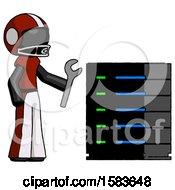 Black Football Player Man Server Administrator Doing Repairs