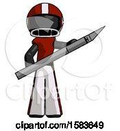 Black Football Player Man Holding Large Scalpel