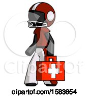 Black Football Player Man Walking With Medical Aid Briefcase To Left
