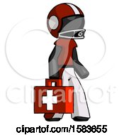 Black Football Player Man Walking With Medical Aid Briefcase To Right