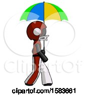 Black Football Player Man Walking With Colored Umbrella