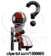 Black Football Player Man Question Mark Concept Sitting On Chair Thinking