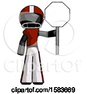 Black Football Player Man Holding Stop Sign